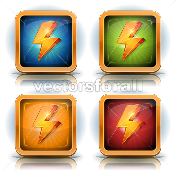 Shield Icons With Lightning Bolts For Game Ui - Vectorsforall