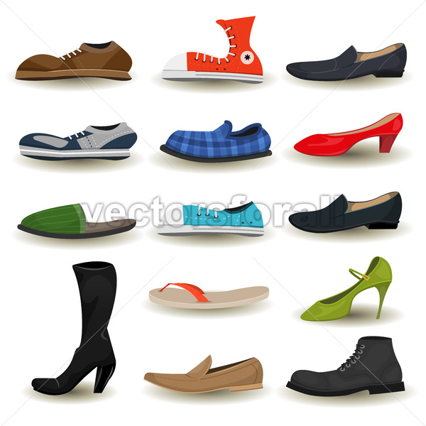 Shoes, Boots, Sneakers And Footwear Set - Vectorsforall