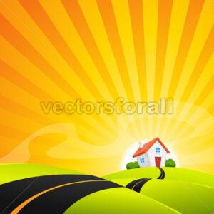 Small House In Summer Sunrise Landscape - Vectorsforall