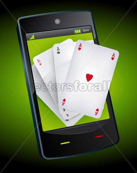 Smartphone Gambling – Poker Aces - Vectorsforall