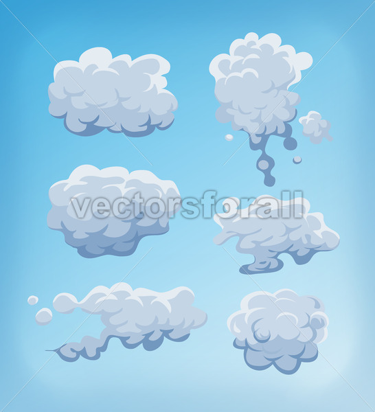 Smoke, Fog And Clouds Set On Blue Sky - Vectorsforall