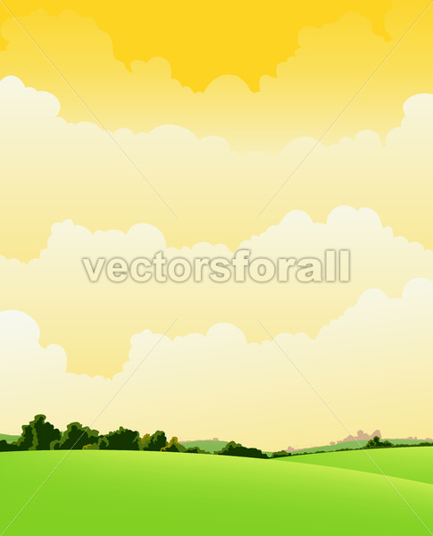 Spring And Summer Cloudy Landscape - Vectorsforall