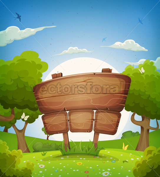 Spring And Summer Landscape With Wooden Sign - Vectorsforall