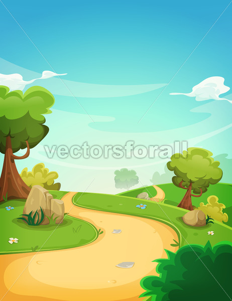 Spring Landscape Background With Path - Vectorsforall