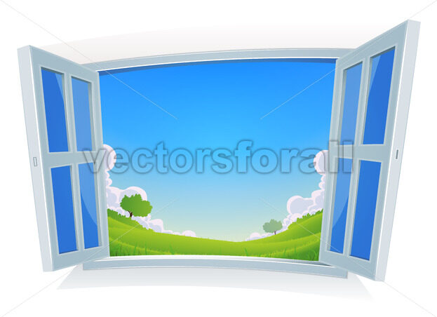 Spring Or Summer Landscape By The Window - Vectorsforall