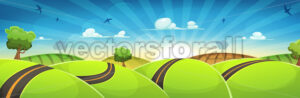 Spring Rounded Landscape With Road And Rising Sun - Vectorsforall
