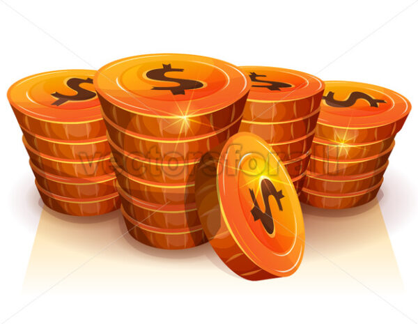 Stack Of Dollar Coins For Game Ui - Vectorsforall