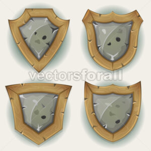 Stone And Wood Shield Security Icons - Vectorsforall