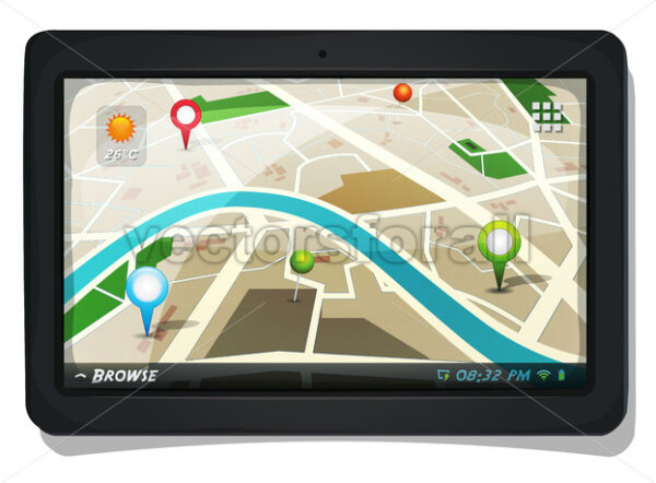 Street Map With GPS Pins On Tablet PC Screen - Vectorsforall