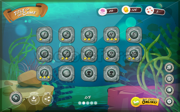 Submarine Game User Interface For Tablet - Vectorsforall