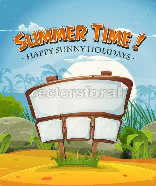 Summer Holidays Beach Landscape With Wood Sign - Vectorsforall