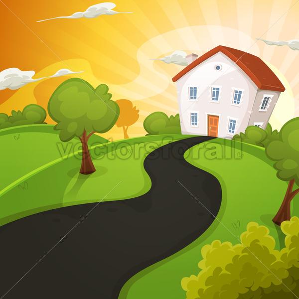 Summer House Inside Green Fields In Sunrise - Vectorsforall