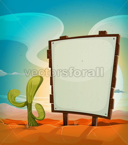 Summer Mexican Desert With Wood Sign - Vectorsforall