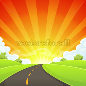 Summer Road With Shining Sun - Vectorsforall