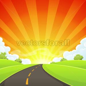 Summer Road With Shining Sun - Vectorsforall