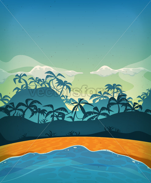 Summer Tropical Desert Island - Vectorsforall