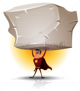 Superhero Holding Heavy Big Boulder - Vectorsforall