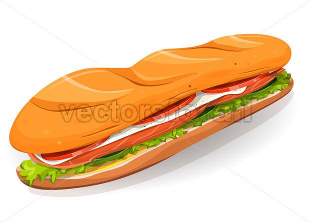Swedish Sandwich With Salmon Fish, Fresh Cheese And Salad - Vectorsforall