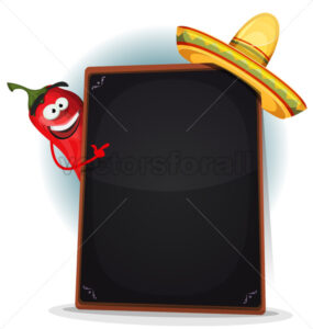 Tex Mex Menu With Chili Pepper And Sombrero - Vectorsforall