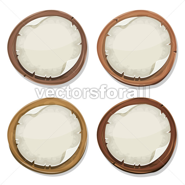 Torn Paper Signs On Wood Circles - Vectorsforall