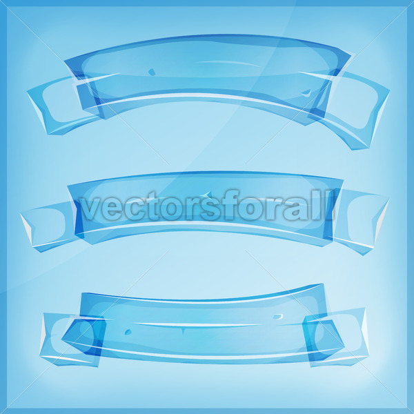 Transparent Glass Or Crystal Banners And Ribbons - Vectorsforall