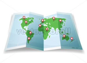 Travel World Map With GPS Pins - Vectorsforall