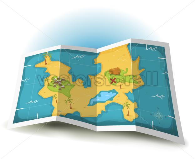Treasure Island And Pirate Map - Vectorsforall
