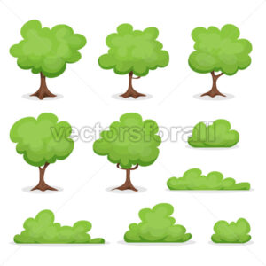 Trees, Hedges And Bush Set - Vectorsforall
