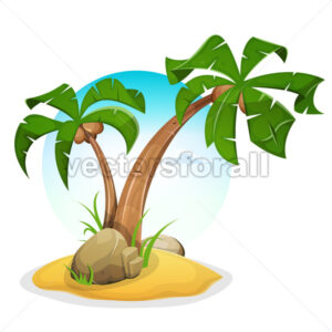 Tropical Island With Palm Trees - Vectorsforall