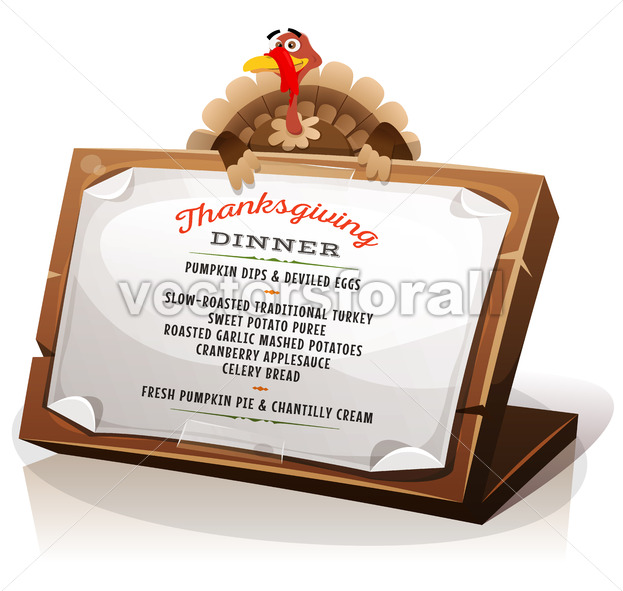 Turkey Holding Thanksgiving Dinner Menu - Vectorsforall