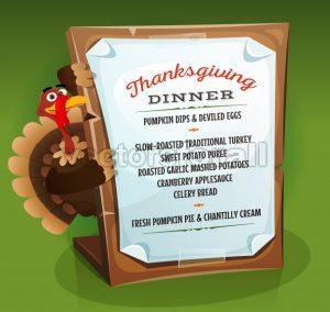 Turkey Holding Thanksgiving Dinner Menu - Vectorsforall