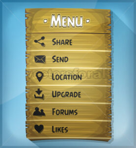 Ui Element And Data Icons On Wood Panel - Vectorsforall