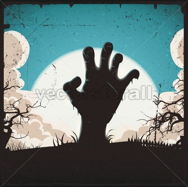 Undead Zombie Hand On Halloween Background - Vectorsforall