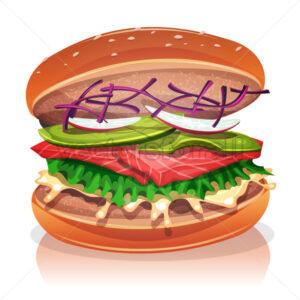 Vegetarian Burger With Salmon Fish - Vectorsforall