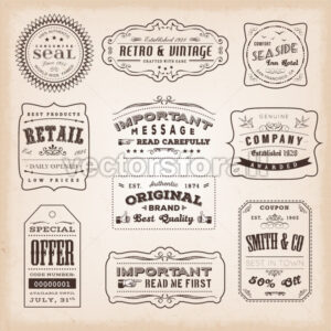 Vintage And Old-Fashioned Labels And Signs - Vectorsforall