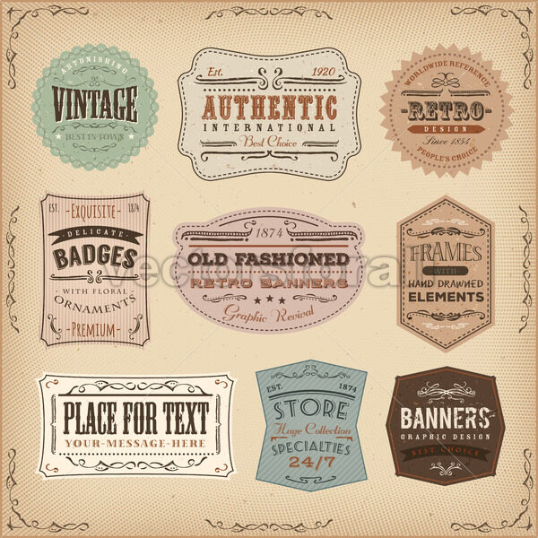 Vintage And Old-Fashioned Labels Ans Signs - Vectorsforall