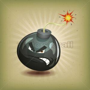 Vintage Angry Bomb Character - Vectorsforall