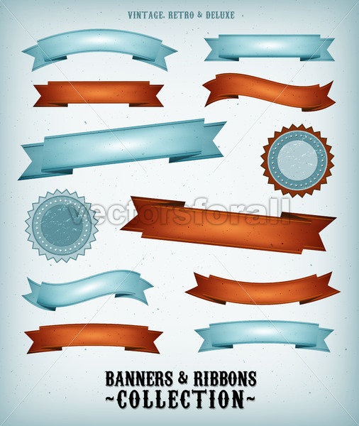 Vintage Banners And Ribbons Set - Vectorsforall