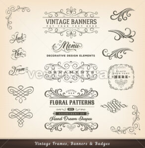 Vintage Calligraphic Design Banners - Vectorsforall
