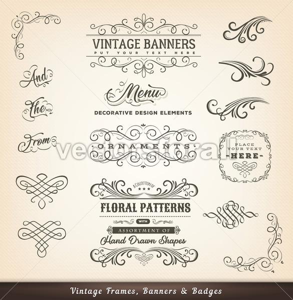 Vintage Calligraphic Design Banners - Vectorsforall