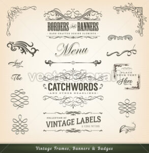 Vintage Calligraphic Frames And Banners - Vectorsforall