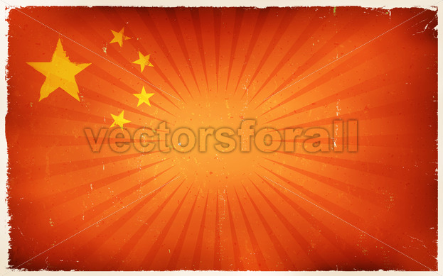 Vintage China Flag Poster Background - Vectorsforall