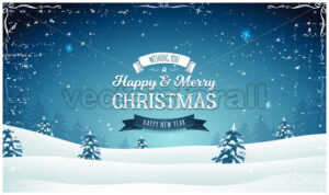 Vintage Christmas Landscape Wide Background - Vectorsforall