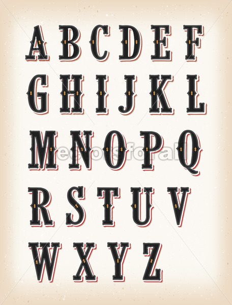 Vintage Circus And Western ABC Font - Vectorsforall