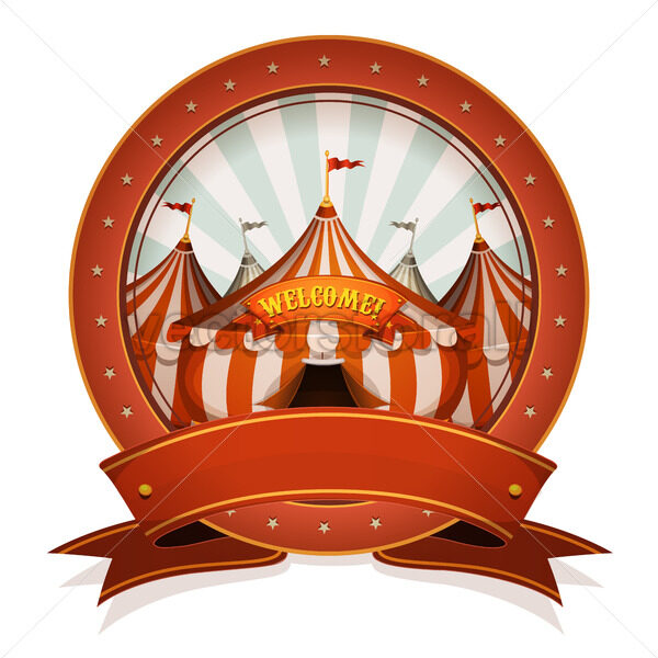 Vintage Circus Badge And Ribbon With Big Top - Vectorsforall