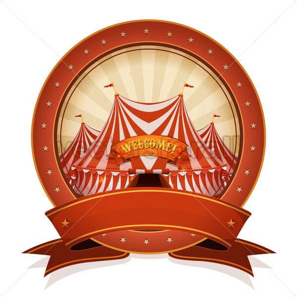 Vintage Circus Badge And Ribbon With Big Top - Vectorsforall