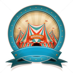 Vintage Circus Badge With Ribbon And Big Top - Vectorsforall