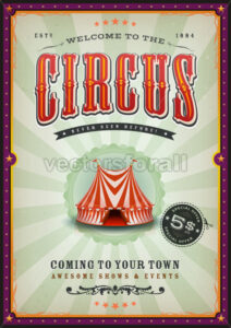 Vintage Circus Poster With Sunbeams - Vectorsforall