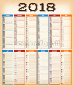 Vintage Design Calendar For Year 2018 - Vectorsforall
