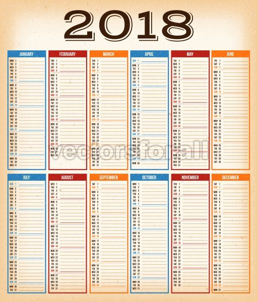 Vintage Design Calendar For Year 2018 - Vectorsforall